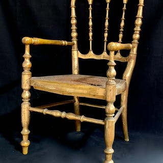 Musical Gilt Doll Chair c. 1920's