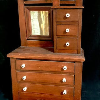 Antique 6 Doll Drawer Check w/ Mirror c. 1900