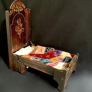 Rare Antique Fancy Fold Up Bed w/ Crazy Quilt