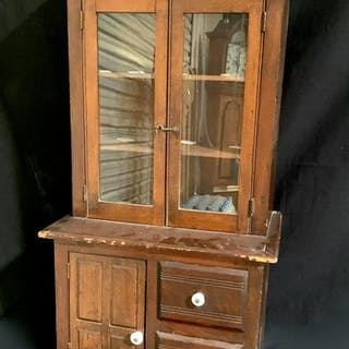 Large Antique Walnut Doll Cabinet c. 1900
