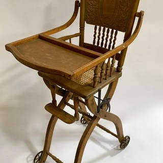 Antique Victorian Oak Collapsible High Chair