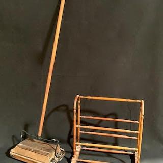 Antique Doll Towel Rack & Bissel Sweeper