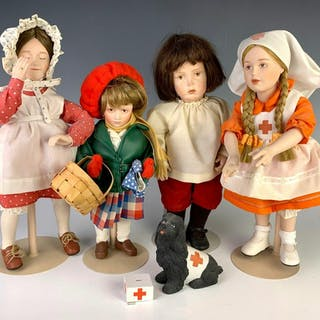 Lot of Four Bisque and Cloth Artist Dolls