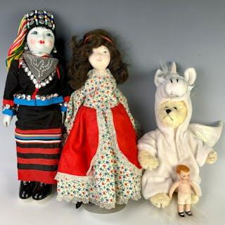Lot of Four Dolls