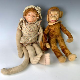 """16"""" and 19"""" Pair of Cloth Monkey Art Dolls"""