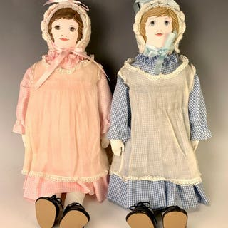 "Lot 2 18"" Moravian Cloth Polly Heckewelder Dolls"