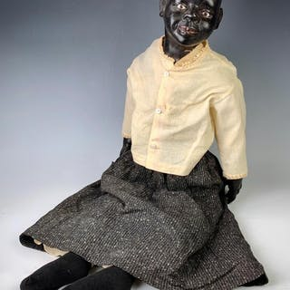 "30"" Early Black Wax Shoulderhead Character"