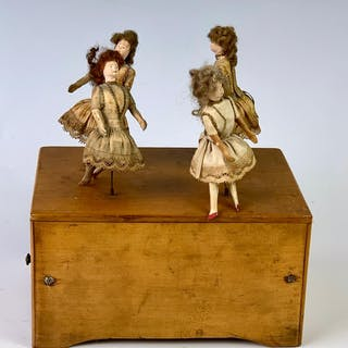 Music Box with Dancing Dolls, French c. 1880