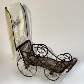 French Metal Doll Carriage