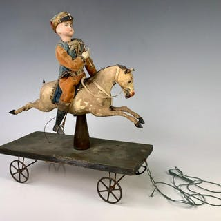 "Antique ""Soldier on Horse"" Pull Toy c. 1880"