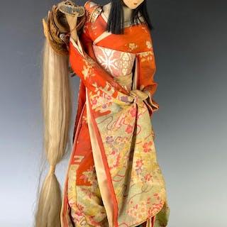 "22"" Japanese Cloth Doll Figure on Wooden Pedestal"