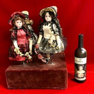 Large Antique 4 Bisque Head Musical Dancing Dolls
