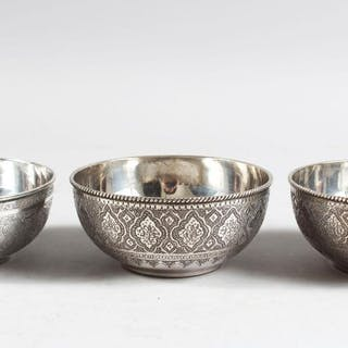 Three Persian White Metal Circular Bowls With Chased Cur S Barnebys