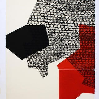 "Unframed Red Black ""Untitled 1"" Aquatint by Debutler"