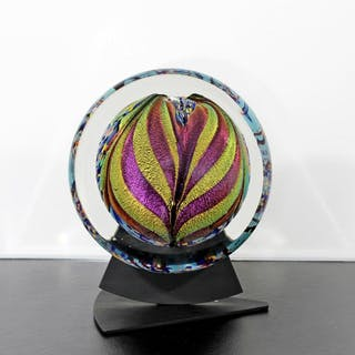Art Glass Table Sculpture Signed by Rollin Karg 2002