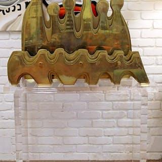 Arthur Schneider Bronze Floor Sculpture Lucite Base
