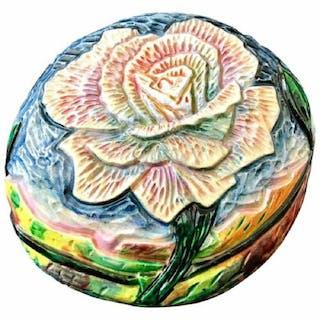 Eddie Dominguez Ceramic Carved Art Flower Table