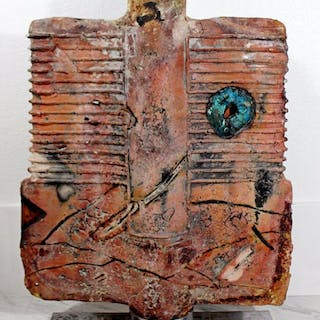 Abstract Studio Ceramic Glass Sculpture by Tom Phardel