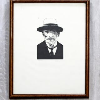 Leonard Baskin Wood Etching Untitled Man Framed
