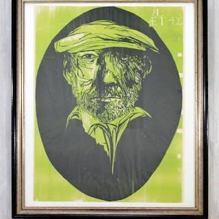 Leonard Baskin Self Portrait at Age 42 Framed Signed
