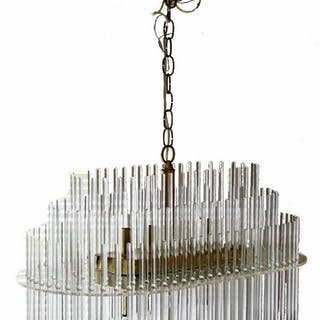 Sciolari Oval Glass Rods & Brass Chandelier Light