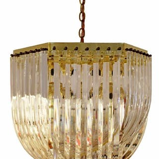 Mid Century Brass & Lucite Ribbon Chandelier Light
