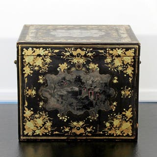 Vintage Ornate Floral Asian Chinese Lacquered Tea Caddy