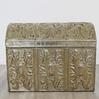 Large Mexican Silver Repousse Box Trunk Red Velvet