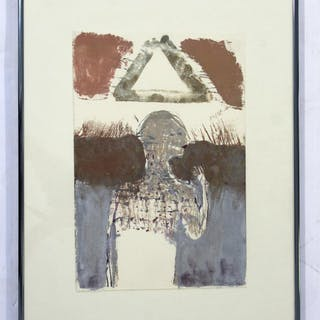 Modern Signed Scully Aquatint Etching Signed Surrealist