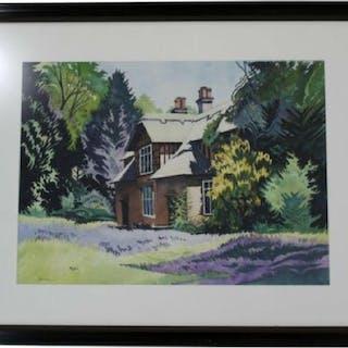 "Mid Century Jon Carsman ""Blue Bells"" Watercolor 1980"