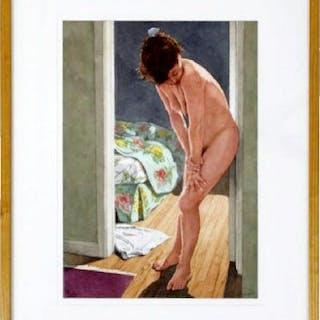 Framed Schefman Original Watercolor Figurative Nude