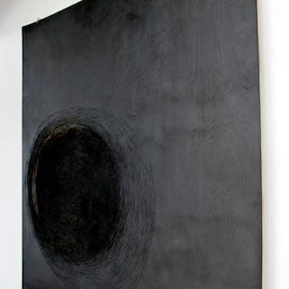 Anne Lindberg Black Abstract Textile Mixed Media Art