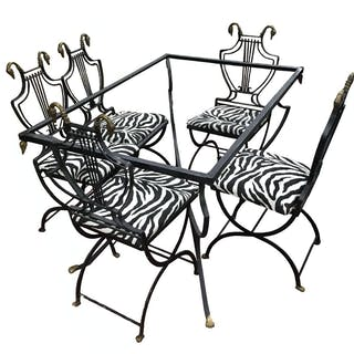 Deco Italian Iron Lyre Swan Dining Chairs Table Copelon