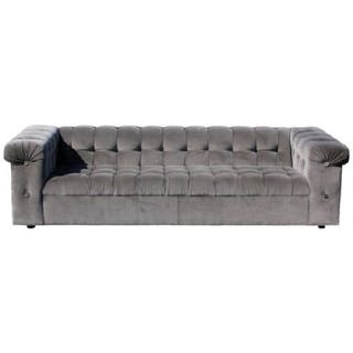 Mid Century Dunbar Tufted Grey Velvet Party Sofa Model