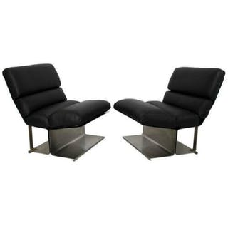 Pair Steel Leather Lounge Chairs Paul Geoffroy Uginox
