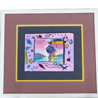 Framed Peter Max Signed Man with Umbrella Unique