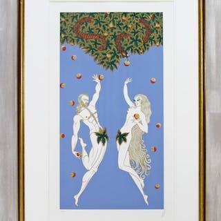 Erte Framed Adam & Eve Serigraph Signed & Numbered