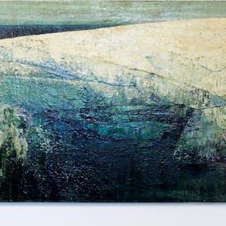 Nicholas Snow 1967 Acrylic on Board Blue Green