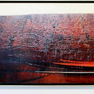 Nicholas Snow Red Abstract Acrylic on Board Framed