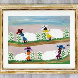 Original Oil Canvas Cotton Picking Signed Clementine
