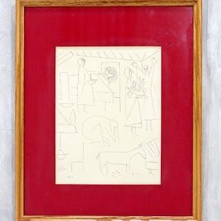 Pablo Picasso Dos Contesis a rare Burin etching framed