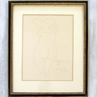 Pablo Picasso Femme Nu De Dos etching framed