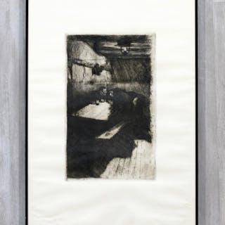Kathe Kollwitz Conspiracy Original Etching Framed 1895