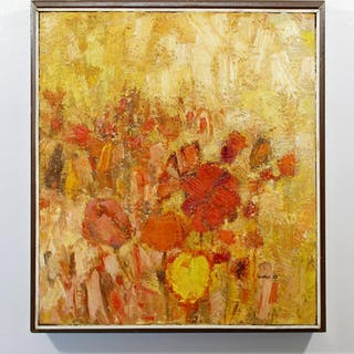 Framed Oil on Canvas Flower Painting Signed Szafran