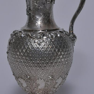 Ornate Scottish Victorian sterling silver ewer. Allover