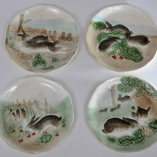 Set of four early 20th century French Majolica pottery