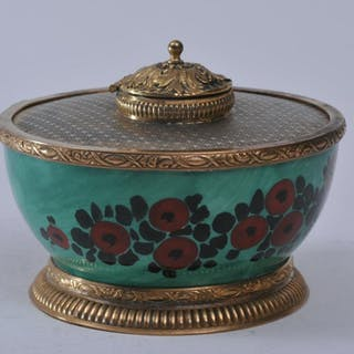 French porcelain round gilt metal mounted inkwell.