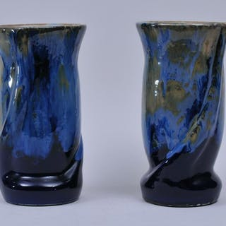 Pair of 20th century Art Pottery blue glaze vases with