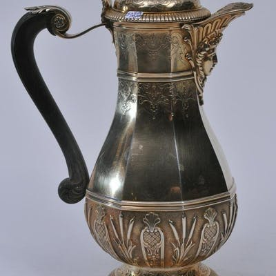 19th century French gilt silver chocolate pot.