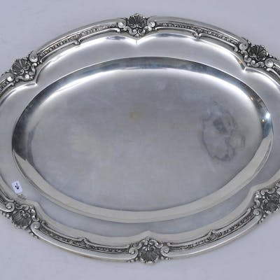 Continental .800 silver oval tray with paneled body and